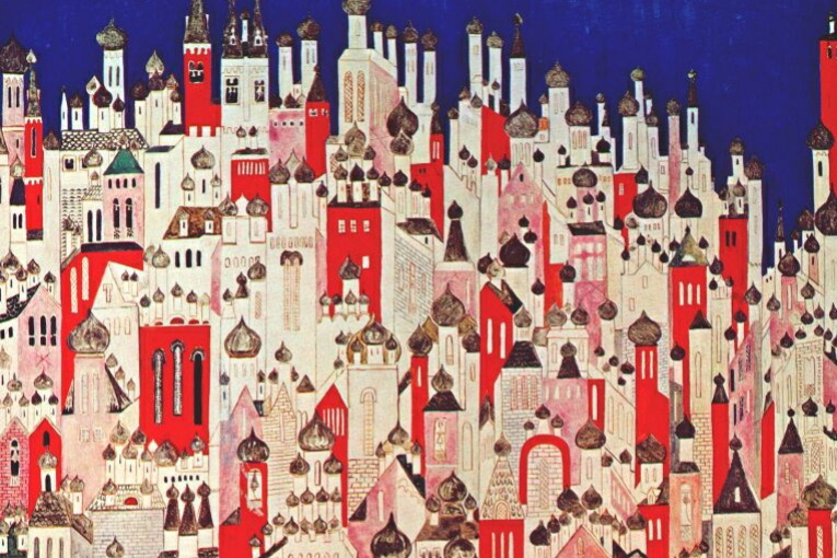 "Natalia Goncharova. The final design of the backdrop for the ballet ""the Firebird"" by Igor Stravinsky"