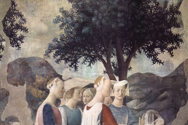Piero della Francesca. A visit to king Solomon Queen Sheba snippet: the Worship of the Queen of Sheba cross