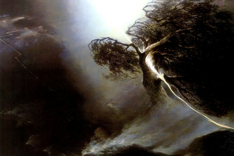 Maxim Nikiforovich Vorobiev. Oak fractured by lightning. Allegory on the death of the artist's wife