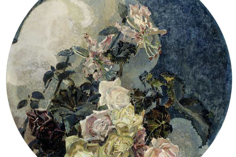 """Mikhail Aleksandrovich Vrubel. Roses and lilies. Triptych """"Flowers"""" for the house of E. D. Dunker in Moscow. The left part of the triptych"""