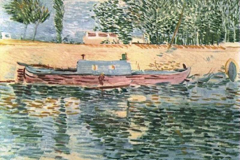 Vincent van Gogh. Bank of the Seine with a boat