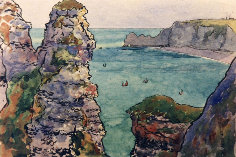 Jean Francis Ouurten. Bird's-eye View of Cliffs and Boats