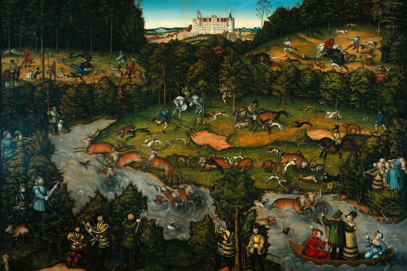 Lucas Cranach the Elder. Deer hunting near the castle Hartenfels