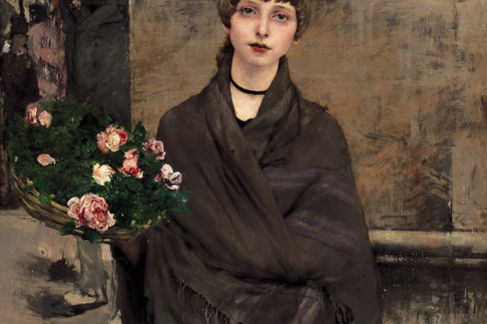 Jules Bastien-Lepage. Girl with basket of flowers