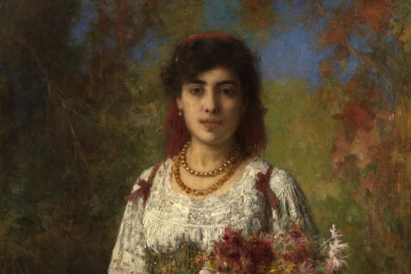 Алексей Алексеевич Харламов. Цыганка с цветами. 1907