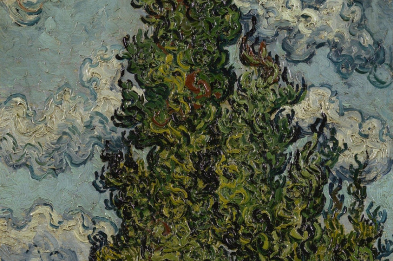 Vincent van Gogh. Cypress and two women