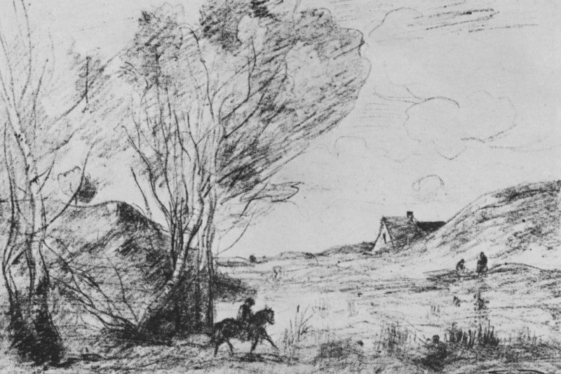 Camille Corot. Horseman in the reeds