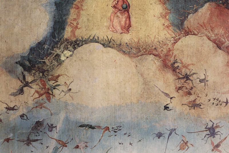 Hieronymus Bosch. The hay-cart. Left wing of a triptych. The expulsion from Paradise. Fragment