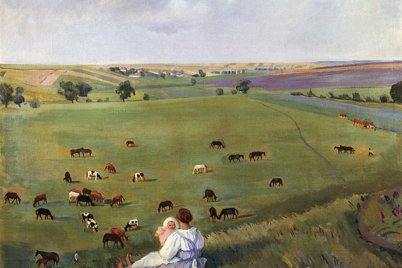 Zinaida Serebryakova. In the meadow. Boring