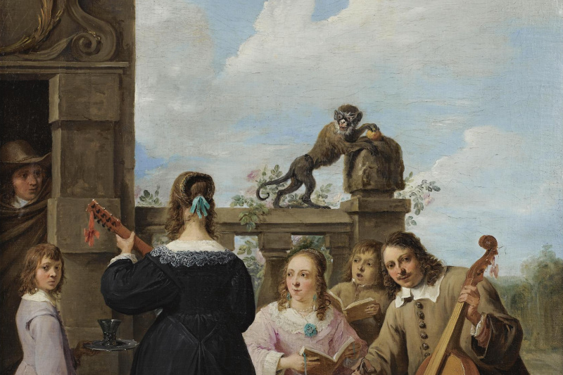 David Teniers the Younger. A FAMILY CONCERT ON THE TERRACE OF A COUNTRY HOUSE: A SELF PORTRAIT OF THE ARTIST WITH HIS FAMILY