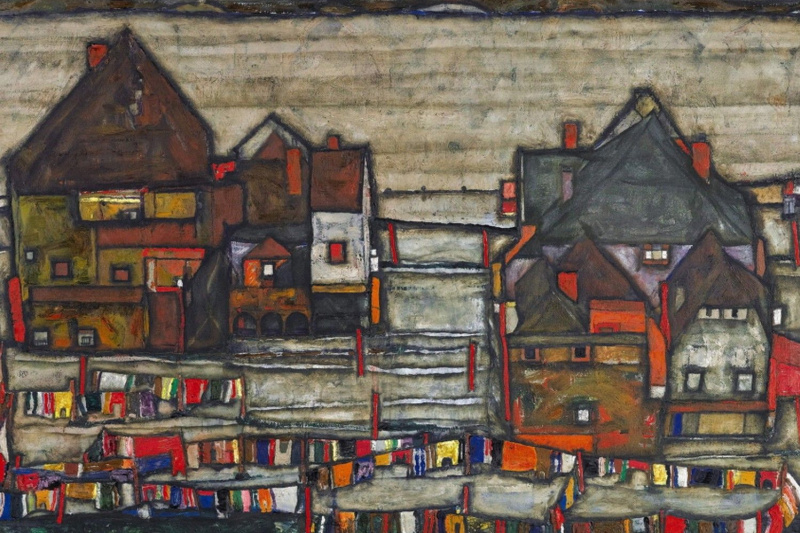 Egon Schiele. Houses with colorful linen