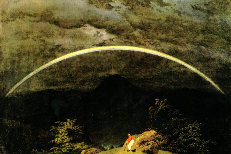 Caspar David Friedrich. Mountain landscape with a rainbow