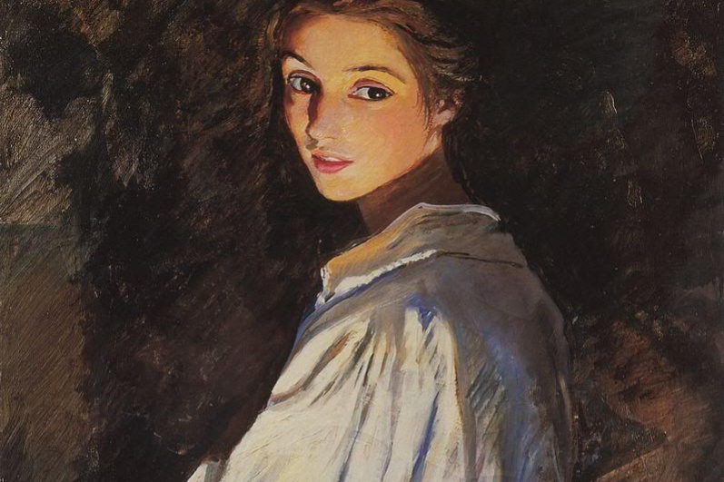 Zinaida Serebryakova. A girl with a candle. Self portrait