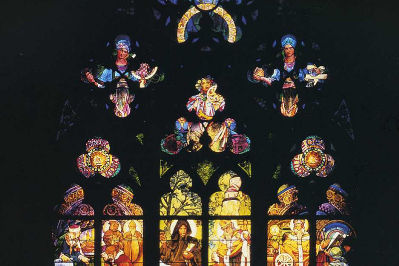 Alphonse Mucha. Stained glass window in St. Vitus Cathedral
