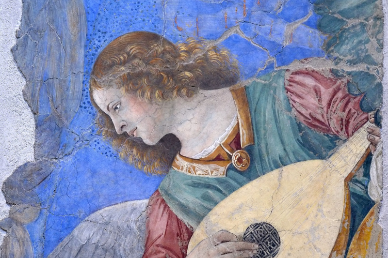 Melozzo da Forlì. Angel playing music