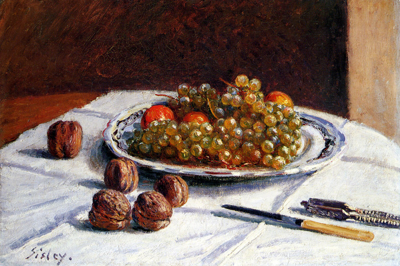 Alfred Sisley. Grapes and walnuts on a table