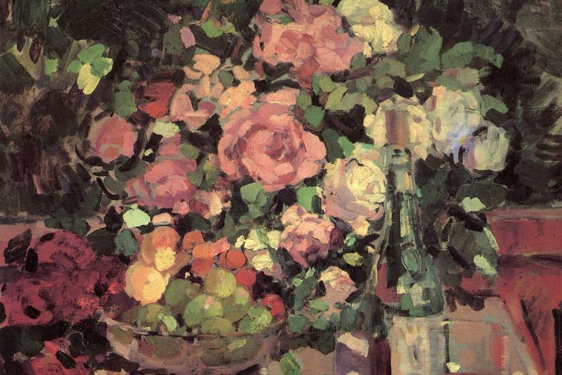 Konstantin Korovin. Roses, fruit, wine