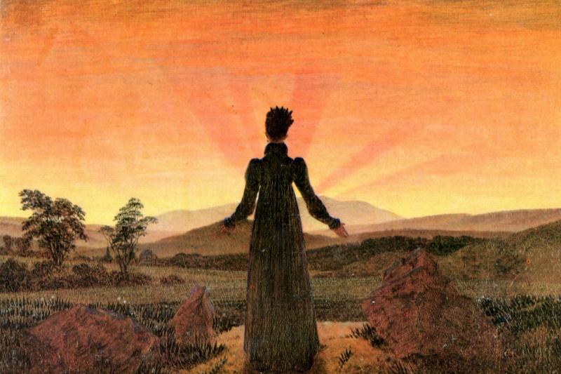 Caspar David Friedrich. Woman and sunset