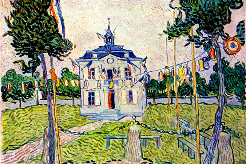 Vincent van Gogh. The town hall in Auvers on 14 July 1890