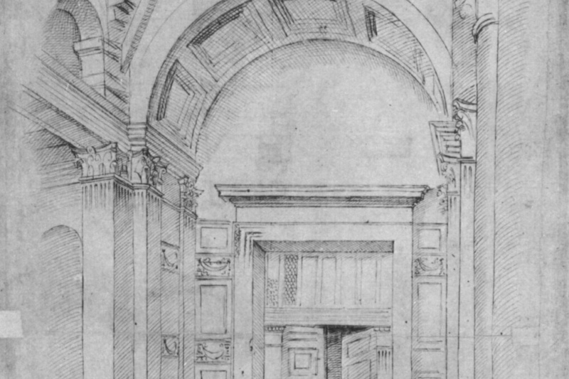 Raphael Sanzio. The Pantheon in Rome, architectural sketch