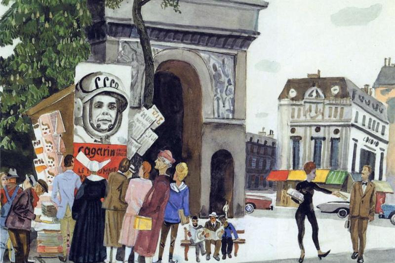 Александр Александрович Дейнека. День Гагарина в Париже