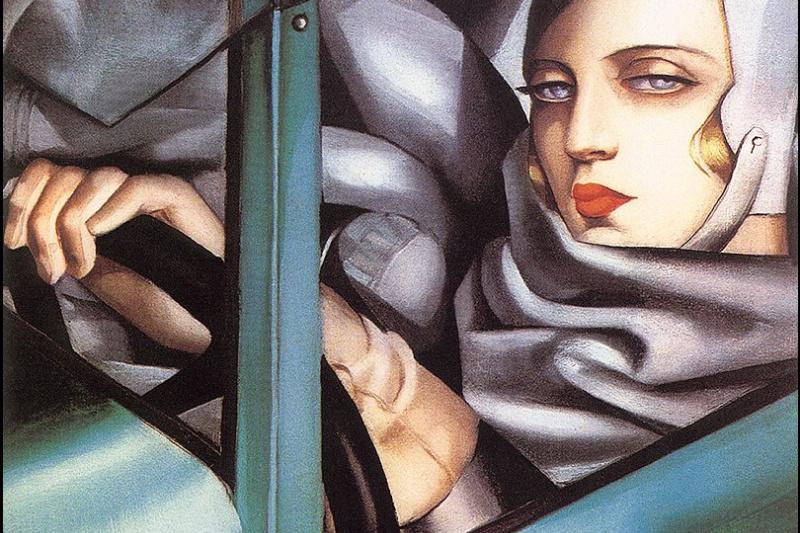 Tamara Lempicka. Self portrait in green Bugatti