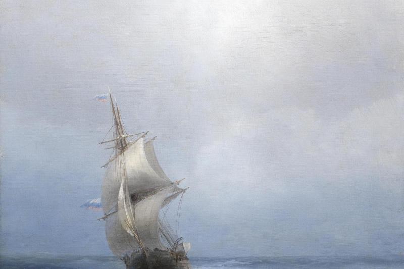 Иван Константинович Айвазовский. Русское двухмачтовое судно в открытом море