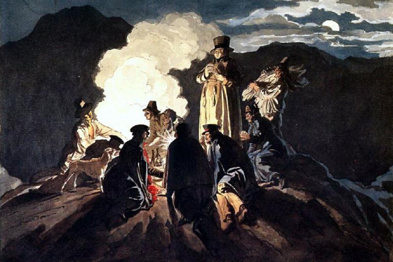 Karl Pavlovich Bryullov. Bivouac on the crater of mount Vesuvius