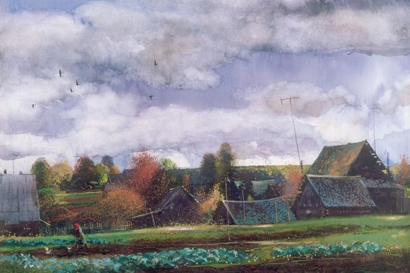 Александр Викторович Шевелёв. Соседская капуста. Бумага, акварель 34 х 52 см. 1993