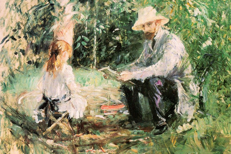 Berthe Morisot. Eugène Manet with his daughter in the garden