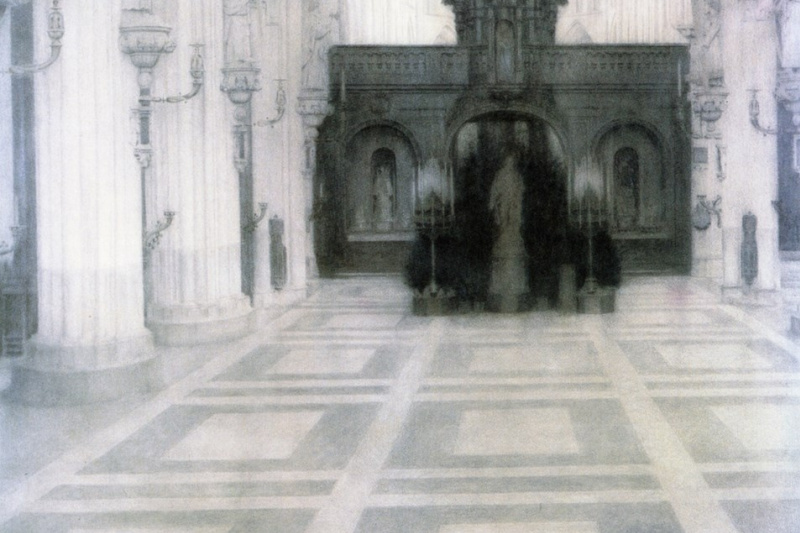 Fernand Knopf. The interior of the church in Bruges