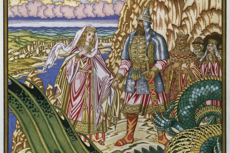 """Ivan Yakovlevich Bilibin. Dobrynya Nikitich frees from Snake Gorynych to Zabava Putiatichna. Sketch of an illustration for a collection of epics for the book of N. Vodovozova """"A word about the capital Kiev and the Russian heroes"""""""