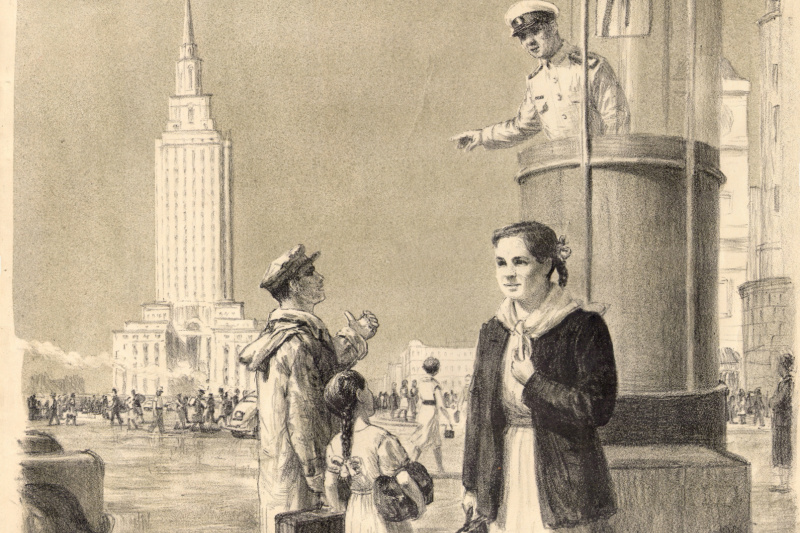 Alexey Gerasimovich Shikin. Moscow guests. Lithography