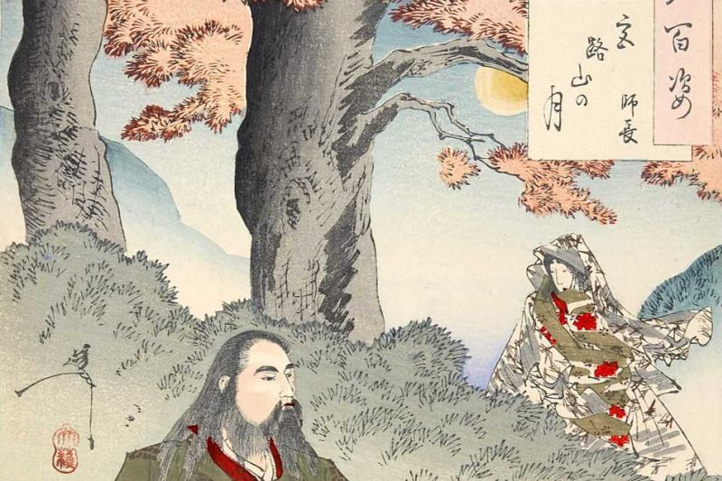 """Tsukioka Yoshitoshi. The moon over Miyaji mountain. The series """"100 aspects of the moon"""""""
