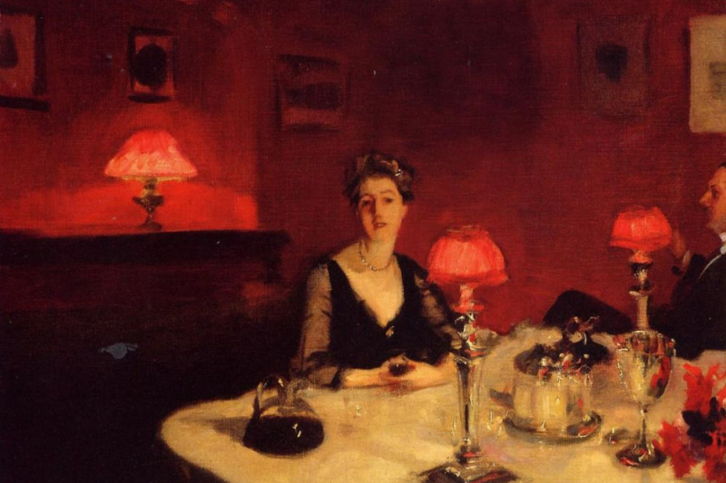 John Singer Sargent. Dining table by night
