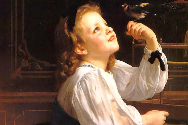William-Adolphe Bouguereau. A girl with a bird
