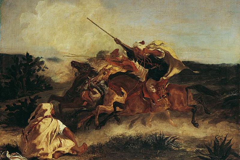 Eugene Delacroix. Arabian fantasy (Jumping riders)