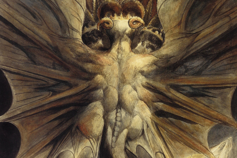 William Blake. Illustrations of the Bible. Great red dragon and the woman clothed in the sun