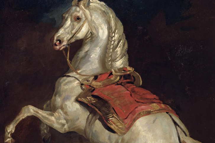 Théodore Géricault. Tamerlane. The horse of Emperor Napoleon under the red saddle