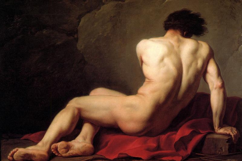 Жак-Луи Давид. Сидящий обнаженный. Эскиз для изображения Патрокла