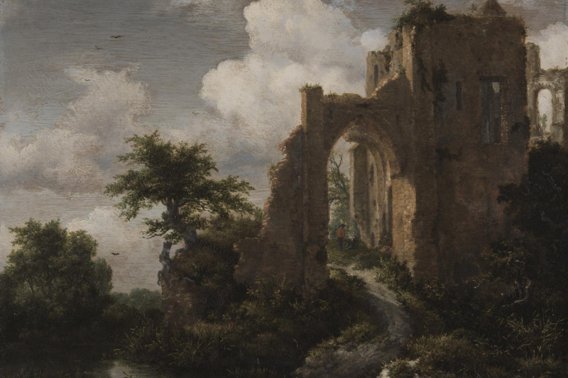 Jakob van Isaacs Ruisdael. Landscape with the Gate of Bridero Castle