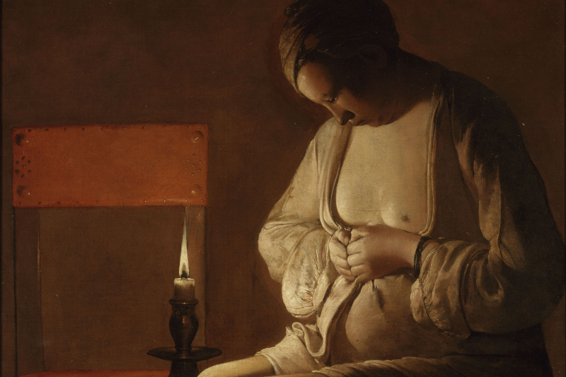 Georges de La Tour. Woman catching a flea