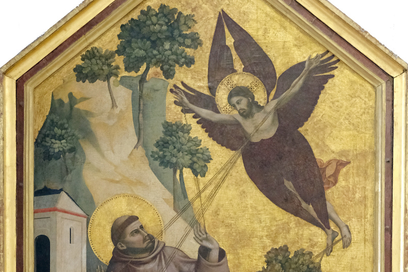 "Giotto di Bondone. Panel ""Saint Francis of Assisi, received stigmata"" with the limits"