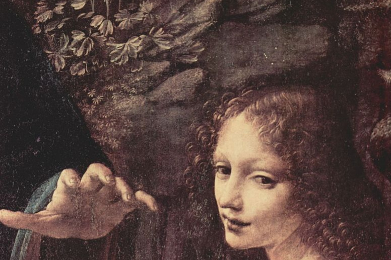 Leonardo da Vinci. Virgin of the rocks (detail)