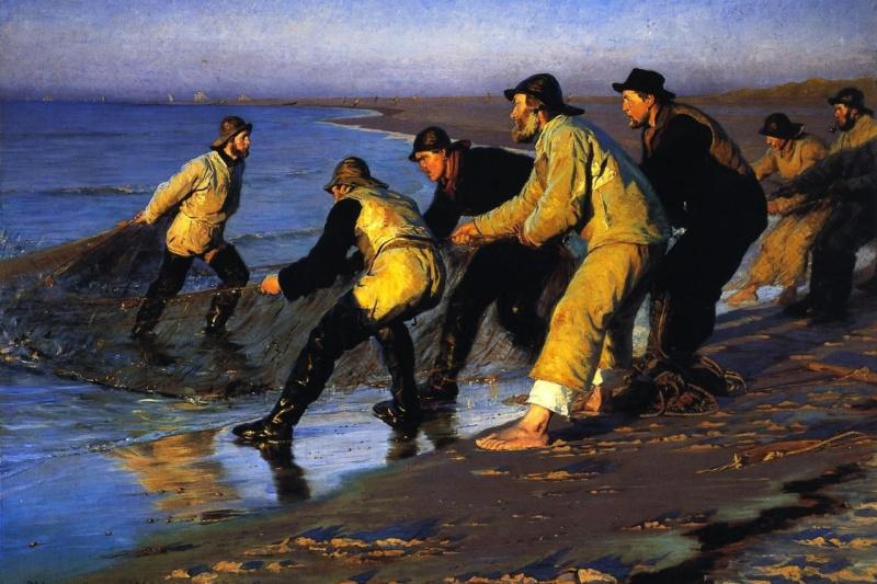 Педер Северин Крёйер. Рыбаки тянут сети на северном пляже Скагена