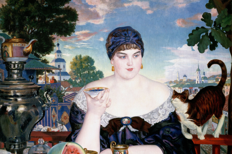Boris Mikhailovich Kustodiev. Merchant's wife at tea