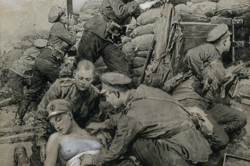Fortunino Matania. First World War: A Military Doctor Is Dressing the Wound of a Woman Soldier in a Breach