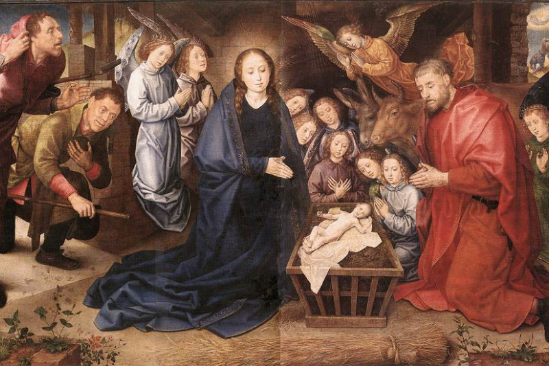 Hugo van der Gus. The adoration of the shepherds