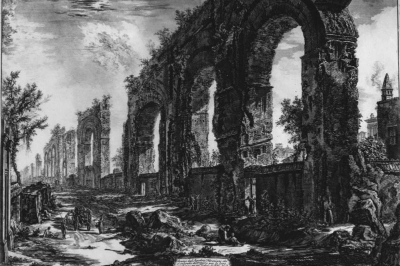 Giovanni Battista Piranesi. The ruins of the aqueduct of Nero