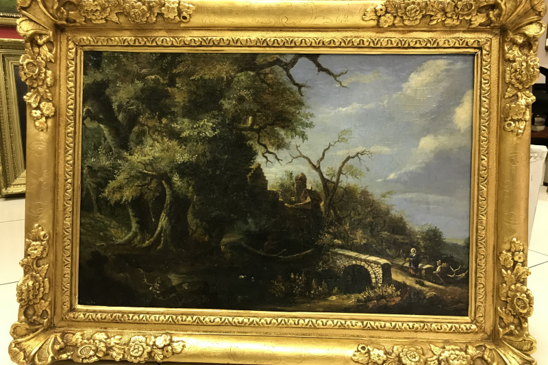 Unknown artist. Landscape with a bridge.